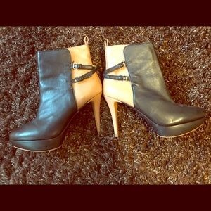 Zara Platform Rounded Two Tone Leather Boots